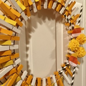 Candy Corn Theme Fall Clothespin Wreath - Fall Mum Wreath - Halloween Wreath