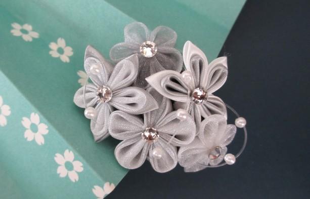 Silver & White Kanzashi