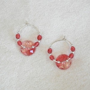 Silver Plated Hoop Earrings with Red Glass and Silver Beads and Vintage Button