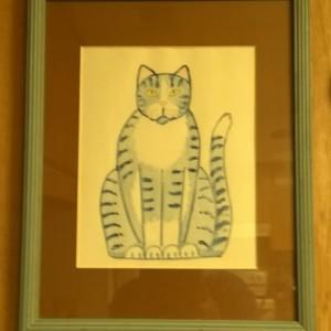 SITTING PRETTY KITTY-- Cat Art --Framed Print