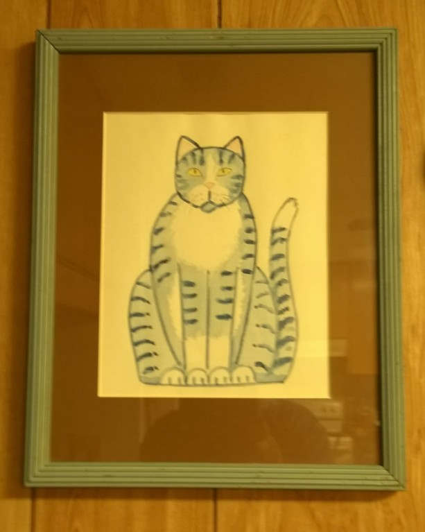 SITTING PRETTY KITTY-- Cat Art --Framed Print