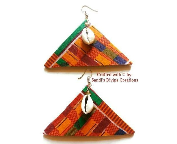 Kente Fabric, Kente Earrings, Kente Cowrie Earrings, Kente Tribal Earrings, Ankara Earrings, Cowry Earrings, Kente Ankara Fabric Earrings