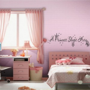 A Princess Sleeps Here Children's Nursery Wall Quotes, Inspirational Quote, Baby, Love, Sayings, Phrases, Vinyl Wall Transfer, Infants