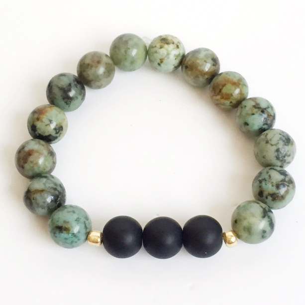 African Jasper and Matte Black Beaded Bracelet