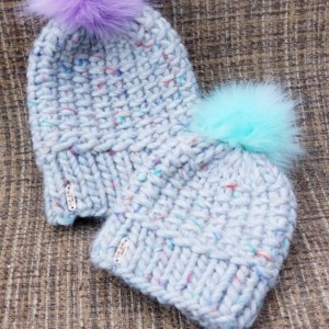 Mommy and Me knit beanies average woman and toddler beanie set
