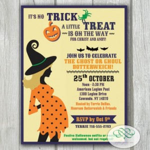 Baby Shower Invitation - Halloween, Polka Dot Trick or Treat Baby Reveal, 4 x 5.25 Printable PDF