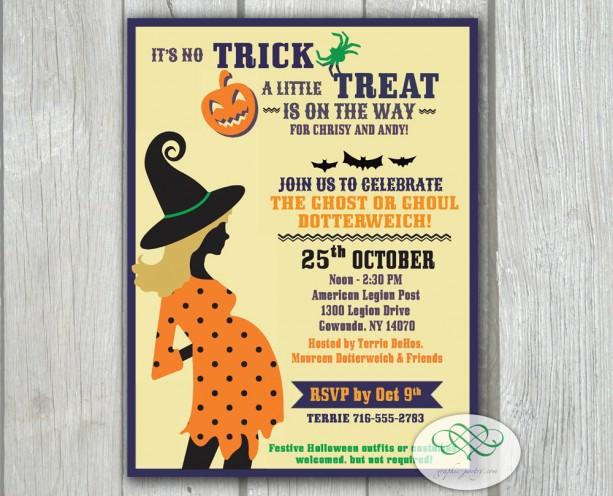Baby shower invitation halloween polka dot trick or treat aftcra baby shower invitation halloween polka dot trick or treat stopboris Choice Image