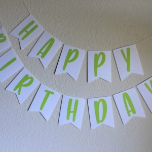 Lime Green and White Birthday Banner
