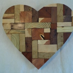 Wooden Mosaic Heart, End Grain Heart, Rustic Home Decor