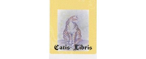 ORANGE CAT Bookplates- Set of 5-- self stick  -