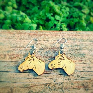 Wooden Horse Head Earrings - FREE US SHIPPING