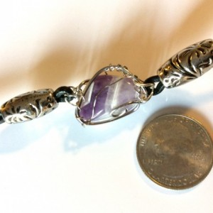 Wire wrapped lilac amethyst stone, leather bracelet