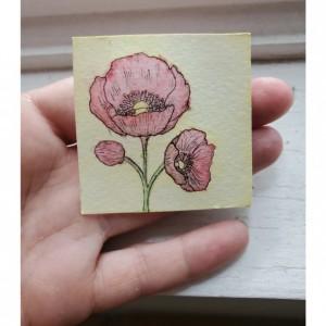 "2""x 2"" Poppy Watercolor (duo set)"