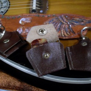 Leather Key Chain Guitar Pick Coin Holder in plain and bling colors