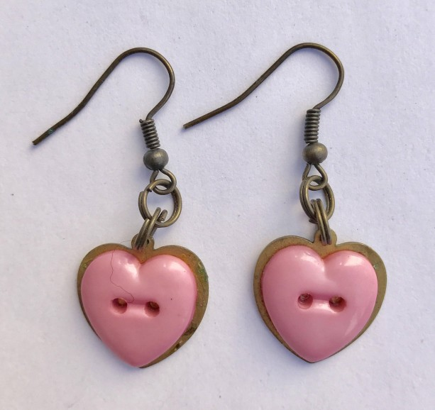 Pink Cute as a Button Pink Heart Earrings