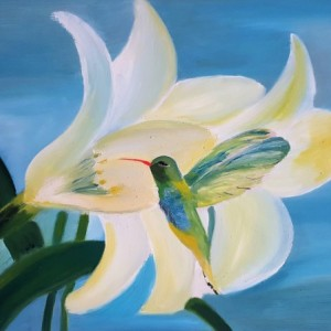 Oil Painting on Canvas- Original Artwork- Nature Painting-Hummingbird Art- Floral Artwork-Blue and Cream-Botanical-Sarah Floyd