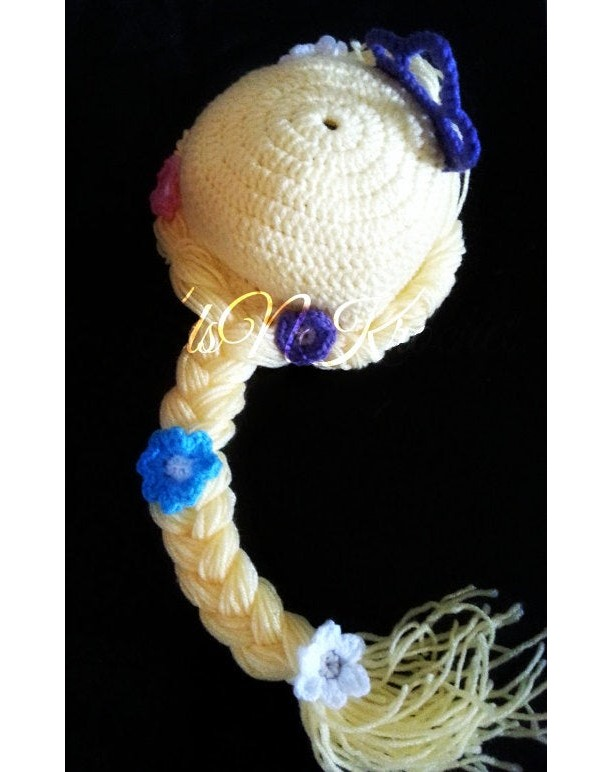 Crochet Rapunzel hat with braid and crown. you choose size and color of crown!