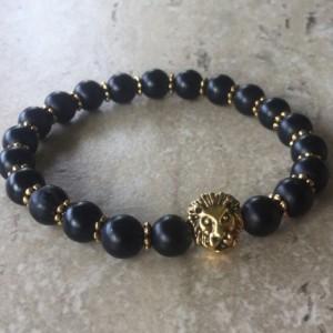 Mens Bracelet, Gift for Men, Mens Jewelry, Gemstone Bracelet, Beaded Bracelet, Matte Black Onyx, Yoga Bracelet, Organic Jewelry, Fathers Day