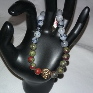 Dragon Blood & Dragon Vein Gemstones w/Lava Stone Diffuser Mens Bracelet