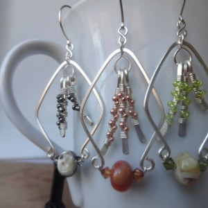 Constructed Rhombus Earrings with Mixed Media