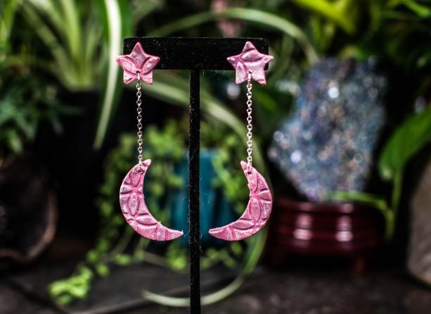 Polymer clay pink moon & stars dangle earrings