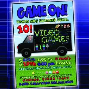 Game Truck Birthday Invitation