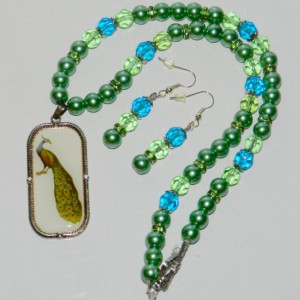Peacock and Pearls Necklace and Earring Set A05443