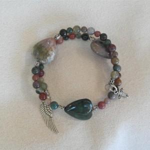 Unity in Trinity™ Gratitude Bracelet of Fancy Jasper Round and Heart Beads