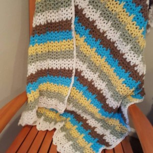 Crocheted Ribbed Striped Throw