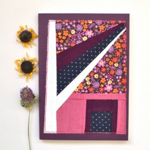 Patchwork notebook -- large plum Fabriano book