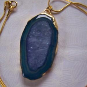 Solar Quartz Pendant Gold Electroplate Blue