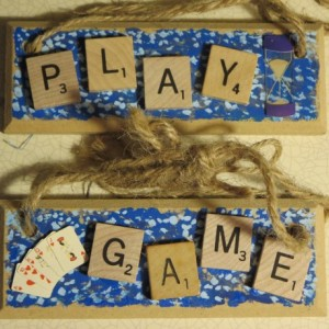 Set of 2 Scrabble® Game Tile Wooden Plaques Play & Game