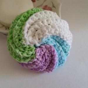 Tawashi Scrubbie - Spiral Scrubbie, Spa Puff, Kitchen Scrubbie, Baby Baby Cloth, Pot Scrubber, Facial Puff, Crocheted Scrubbie