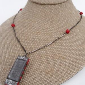 Red Miniature Harmonica Necklace