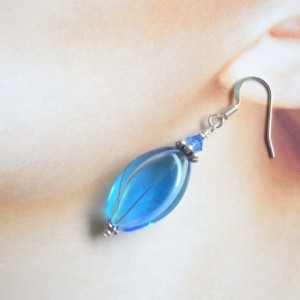Earrings Aqua and Blue Color Hollow Glass Beads Handmade Hand Blown Summer Dangle Drop Jewelry Accessory Fish Hook Oval Flat Silver Plated