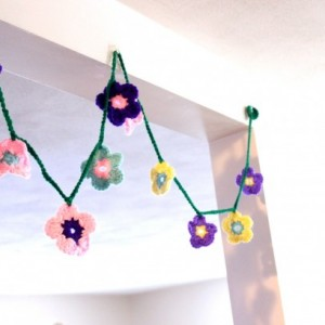 Flower Garland, Garland for Little Girl's Room, Crochet Flower Garland, Handmade Flower Garland,