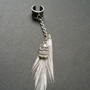 White Feather Ear Cuff w/ Silver Owl Charm  - Earcuffs - Earring