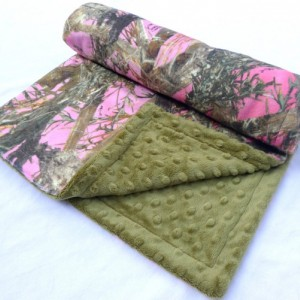 Baby Blanket, True Timber Camouflage Minky Baby Blanket, MC2 Pink With Green Dot Minky For Your Baby Girl