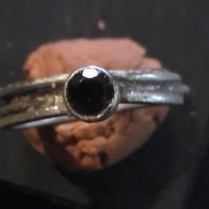 Faceted Garnet and Sterling Tube Set Ring