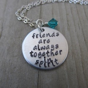 "Friendship Necklace- ""friends are always together in spirit"" -  with an accent bead of your choice"
