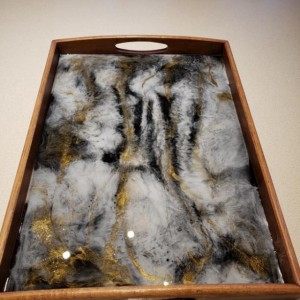 Small Stone Geode Look Serving Tray, Resin Art, Epoxy Art, Hand Painted Tray, Black and Gold, Bamboo Serving Tray, Epoxy Resin Art Tray