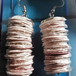 Recycled Earrings- White
