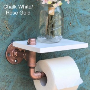Toilet Paper Shelf & Holder -- Industrial, Farmhouse, Steampunk Rustic Iron Pipe Bathroom Decor, Organization, and Storage