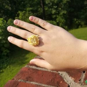 Flower Ring - Statement Ring - Yellow - Crochet - Boho Ring