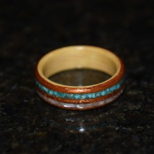 Hand Made ( Bentwood Method ) Beech and Spanish Cedar double inlayed Turquiose and Mother of Pearl Wooden Ring