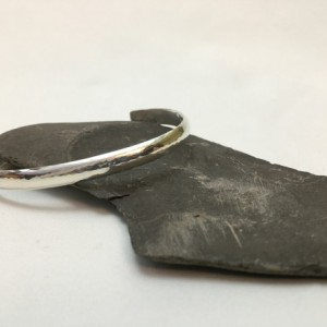 Silver Low Dome Hammered Bracelet—Size 6.5