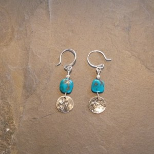 Turquoise and Precious Metal Clay Earrings