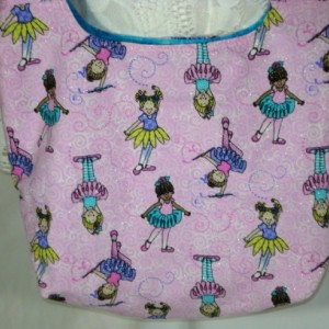 HOBO Over the Shoulder TOTE BAG Ballet Girls on sparkly pink background fabric