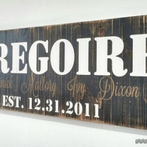 5th Anniversary Gift | Personalized Name Signs | Last Name Sign | Family Established Sign | Wood Anniversary Gift | Rustic Family Name Signs