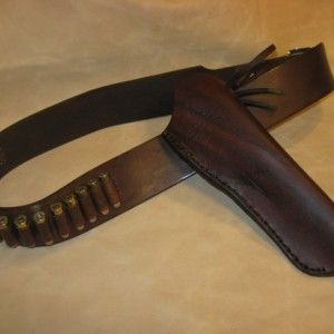 Western Leather Gun Belt/Holster Hip Rig